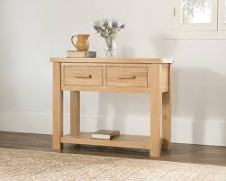 Valencia Console Table Valencia Solid Wood Chunky Oak Large Telephone Console Table