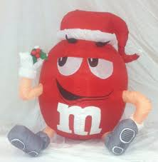 gemmy prototype christmas red m u0026m with santa hat inflatable
