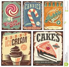vintage candy shop collection of tin signs stock vector image