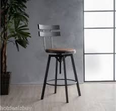 Dining High Chairs Industrial Metal Bar Stool Adjustable Wood Back Kitchen High Chair