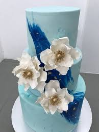 3 Tier Wedding Cake Beautiful Blue 3 Tier Wedding Cake With Edible Gold Leaf Picture