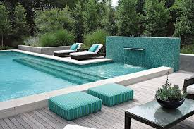 falling water tile pool contemporary with deck drain covers