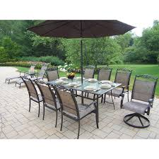 Patio Table With Umbrella Hole Oakland Living Cascade Patio Dining Set With Umbrella And Stand