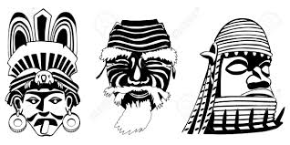 masks aztec japanese and african royalty free cliparts vectors