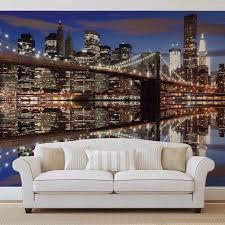 new york brooklyn bridge night wall paper mural buy at europosters new york brooklyn bridge night wallpaper mural