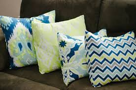 blue green and brown ikat living room decor home tour 8