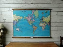Canvas Map Of The World by World Map 1897 Vintage Pull Down Reproduction Canvas