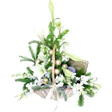 white christmas flower basket with chocolates for gold coast australia delivery jpg