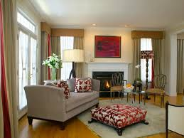 living room with red accents home design