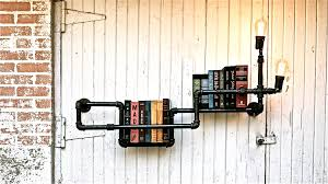 Black Pipe Bookshelf Accessories And Furniture Suitable Industrial Pipe Shelving