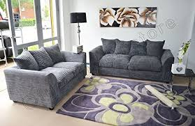 Couch Sofa Settee Dylan Byron Grey Fabric Jumbo Cord Sofa Settee Couch 3 2 Seater