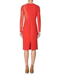 stella mccartney lace side long sleeve dress red