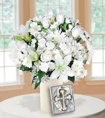 classic all white with cross ornament blooms today