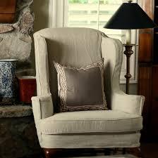 Linen Chair Slipcover Custom Slipcovers By Shelley Tan Linen Wingbacks