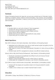 forecasting analyst cover letter