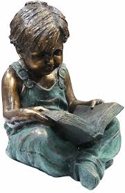 amazon com alpine boy sitting down reading book statue home