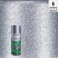 rust oleum specialty 10 25 oz silver glitter spray paint 6 pack