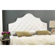 safavieh arebelle white velvet upholstered tufted headboard