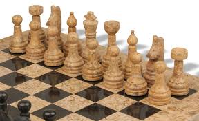 classic coral stone u0026 black marble chess set with 16