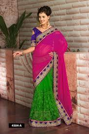 half and half dot design with net designer saree combination of