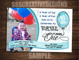 Personalized Birthday Invitation Cards First Birthday Invitation Card Turning One Printable Digital Diy