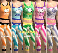 cute teenagers mod the sims cute striped pajamas 5 colors for teen adult female