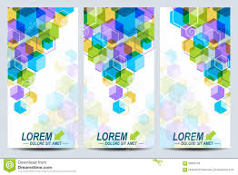 Stylish Design Set Of The Vector Flyers Background With Colorful Hexagons