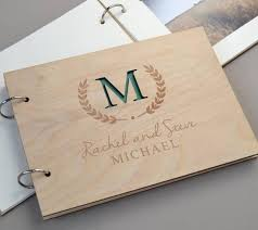 wedding memory book personalised monogram wedding guest book wooden guest book rustic