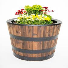 real wood 26 in dia cedar half whiskey barrel planter 29 88