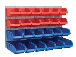 faithfull 24 plastic storage bins with metal wall