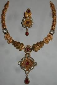 antique jewelry necklace sets images Antique gold kundan necklace set agarwal co jaipur id jpg