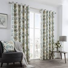 Floral Lined Curtains Fusion Karsten Floral Retro Print Teal Lined Eyelet Curtains