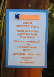 colors classic nerf gun birthday party invitations with high