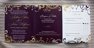 purple and gold wedding invitations eggplant purple gold and chagne swirls and scrolls tri panel