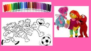 sesame street coloring book julia abby elmo speed coloring