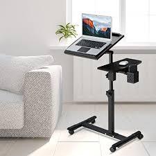 Portable Laptop Desk On Wheels Langria Portable Laptop Desk Cart With Tilting Surfaces For Right