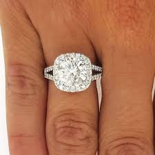 cushion ring 3 50 ct cut cushion halo diamond engagement ring