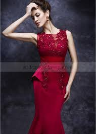 red lace satin beads hourglass long evening dress