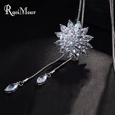 colored crystal necklace pendants images Zircon long necklace fashion silver color crystal maxi necklaces jpg