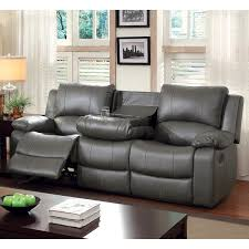 Gray Leather Reclining Sofa Furniture Of America Rembren Grey Bonded Leather Reclining Sofa