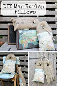 Map Bedding Luggage Tag Burlap Map Pillows Hessian Pillows Pillar Box Blue