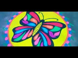 multi colour butterfly kolam design
