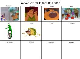 Meme Calendar 2016 - meme of the month calendars know your meme