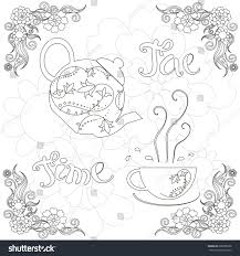 banner coloring page lettering tea time stock vector 668086798