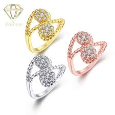 white girl rings images New design gold rose gold white gold color with simple double jpg