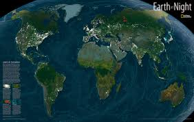 United States World Map by Earth At Night Satellite World Map Wall Maps
