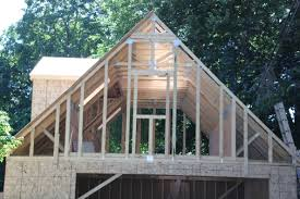 home story 2 2 car 2 story garage using attic trusses and dormer