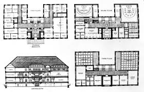 floor plan elevations and section of cooperative store with