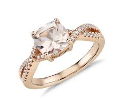 7mm diamond morganite and diamond infinity twist ring in 14k gold 7mm