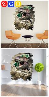 21 best 3d home decoration wall stickers bedroom living room study through the wall dinosaur cartoon broken wall decorative wall sticker for kids room living room bedroom